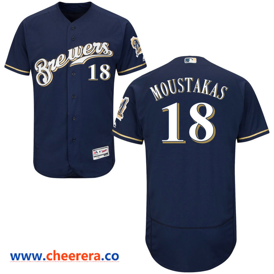 Men's Milwaukee Brewers #18 Mike Moustakas Majestic Navy Blue Flex Base Jersey