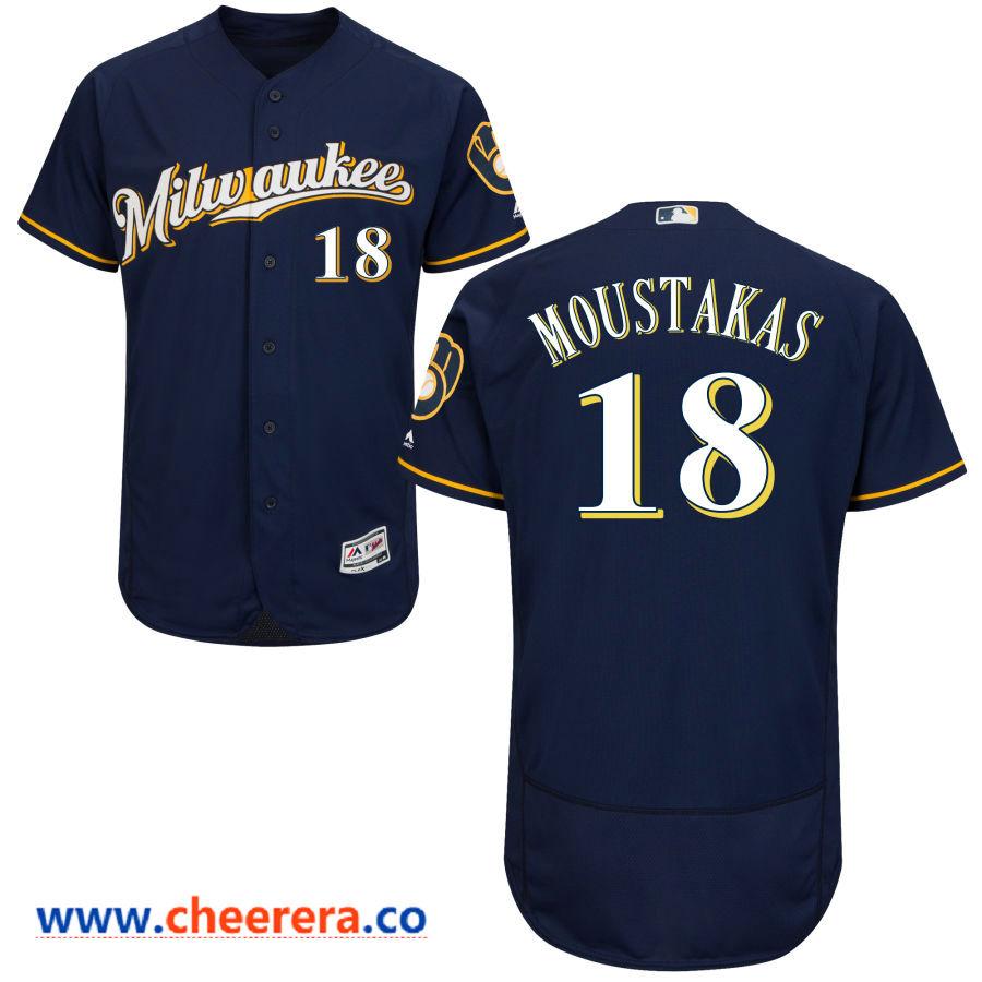 Men's Milwaukee Brewers #18 Mike Moustakas Majestic Navy Blue Milwaukee Flex Base Jersey