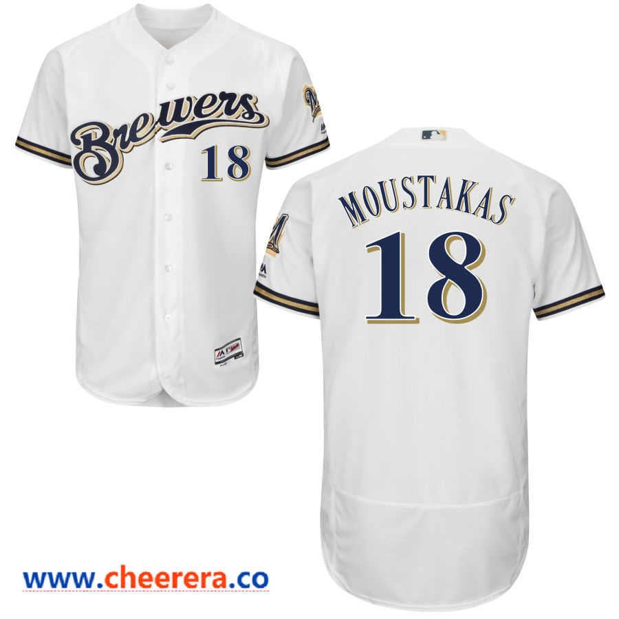 Men's Milwaukee Brewers #18 Mike Moustakas Majestic White Flex Base Jersey