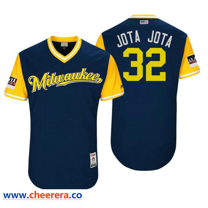 Men's Milwaukee Brewers Authentic Jeremy Jeffress #32 Navy 2018 LLWS Players Weekend Jota Jota Jersey