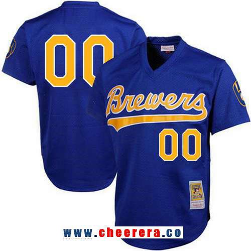 Men's Milwaukee Brewers Light Blue Mesh Batting Practice Throwback Majestic Cooperstown Collection Custom Baseball Jersey
