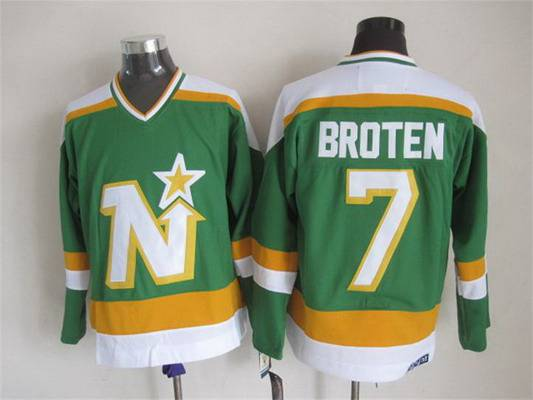 Men's Minnesota North Stars #7 Neal Broten 1978-79 Green CCM Vintage Throwback Jersey