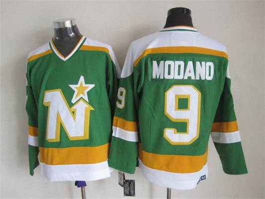 Men's Minnesota North Stars #9 Mike Modano 1978-79 Green CCM Vintage Throwback Jersey