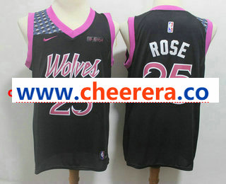 Men's Minnesota Timberwolves #25 Derrick Rose New Black 2019 City Edition NBA Swingman Fitbit Stitched NBA Jersey