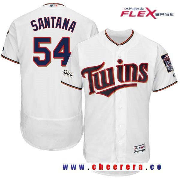 Men's Minnesota Twins Ervin Santana Majestic White 2017 Postseason Patch Patch Flex Base Player Jersey