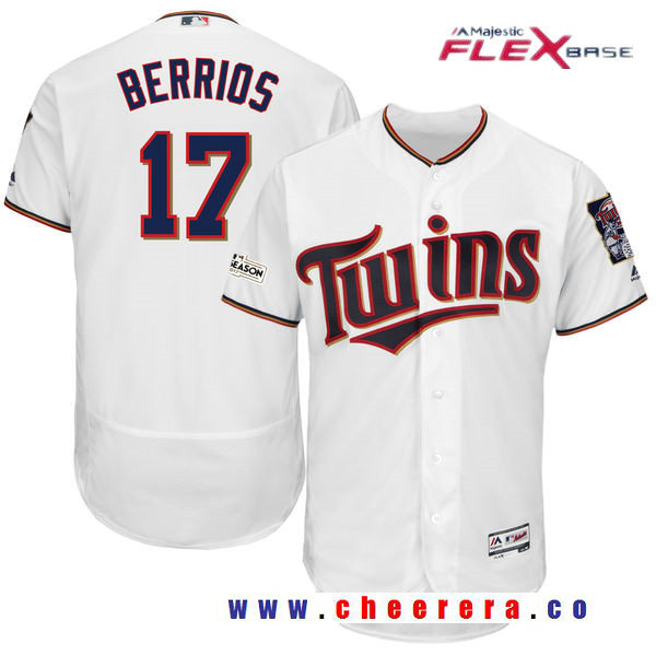 Men's Minnesota Twins Jose Berrios Majestic White 2017 Postseason Patch Patch Flex Base Player Jersey