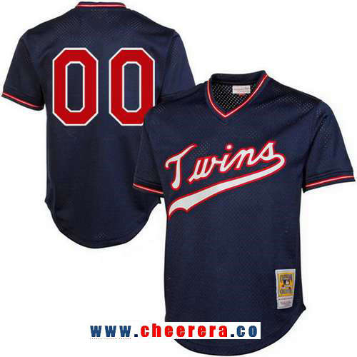 Men's Minnesota Twins Navy Blue 1995 Mesh Batting Practice Throwback Majestic Cooperstown Collection Custom Baseball Jersey