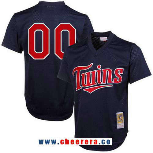 Men's Minnesota Twins Navy Blue 1996 Mesh Batting Practice Throwback Majestic Cooperstown Collection Custom Baseball Jersey