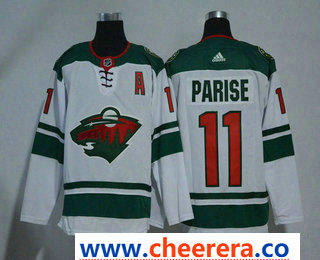 Men's Minnesota Wild #11 Zach Parise White With A Patch 2017-2018 Hockey Stitched NHL Jersey