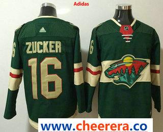 Men's Minnesota Wild #16 Jason Zucker Green 2017-2018 Hockey Stitched NHL Jersey