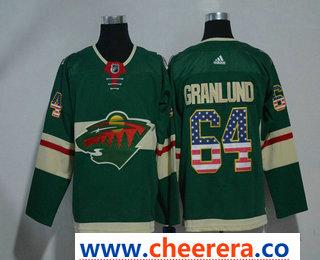 Men's Minnesota Wild #64 Mikael Granlund Green With USA Flag 2017-2018 Hockey Stitched NHL Jersey