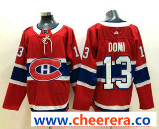 Men's Montreal Canadiens #13 Max Domi Red 2017-2018 Hockey Stitched NHL Jersey