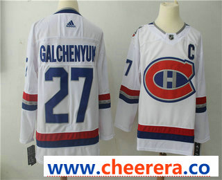 Men's Montreal Canadiens #27 Alex Galchenyuk White Authentic 2017 100 Classic Stitched NHL Jersey