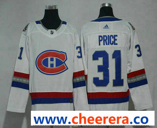 Men's Montreal Canadiens #31 Carey Price White Authentic 2017 100 Classic Stitched NHL Jersey
