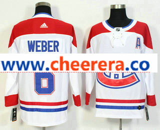 Men's Montreal Canadiens #6 Shea Weber White 2017-2018 Hockey Stitched NHL Jersey