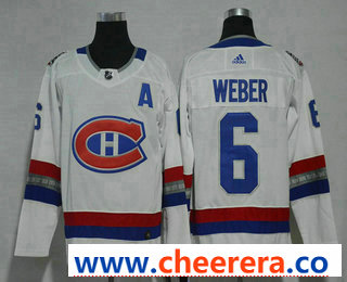 Men's Montreal Canadiens #6 Shea Weber White Authentic 2017 100 Classic Stitched NHL Jersey