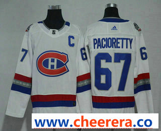 Men's Montreal Canadiens #67 Max Pacioretty White Authentic 2017 100 Classic Stitched NHL Jersey