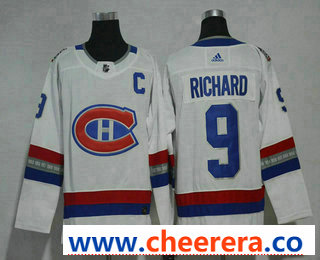 Men's Montreal Canadiens #9 Maurice Richard White Authentic 2017 100 Classic Stitched NHL Jersey