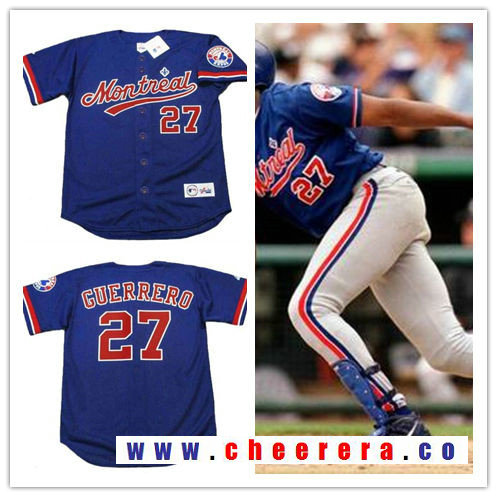 Men's Montreal Expos #27 Vladimir Guerrero Navy Blue 2002 Throwback Stitched MLB Majestic Cooperstown Collection Jersey