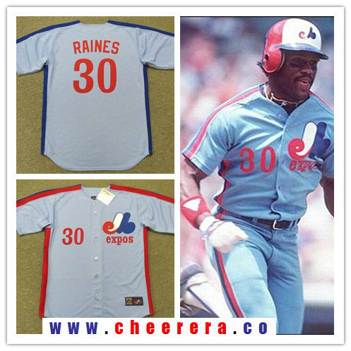 Men's Montreal Expos #30 Tim Raines Light Blue 1981 Throwback Stitched MLB Majestic Cooperstown Collection Jersey