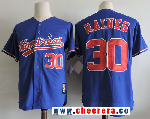 Men's Montreal Expos #30 Tim Raines Navy Blue 2001 Throwback Stitched MLB Majestic Cooperstown Collection Jersey