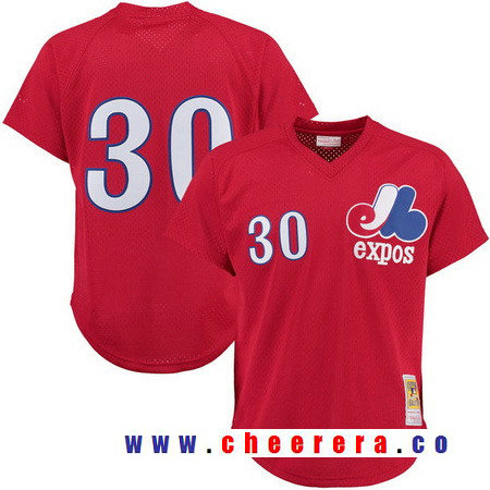 Men's Montreal Expos #30 Tim Raines Red Mesh Batting Practice Throwback Jersey By Mitchell & Ness