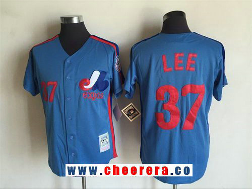 Men's Montreal Expos #37 Bill Lee Light Blue 1982 Throwback Cooperstown Collection Stitched MLB Mitchell & Ness Jersey