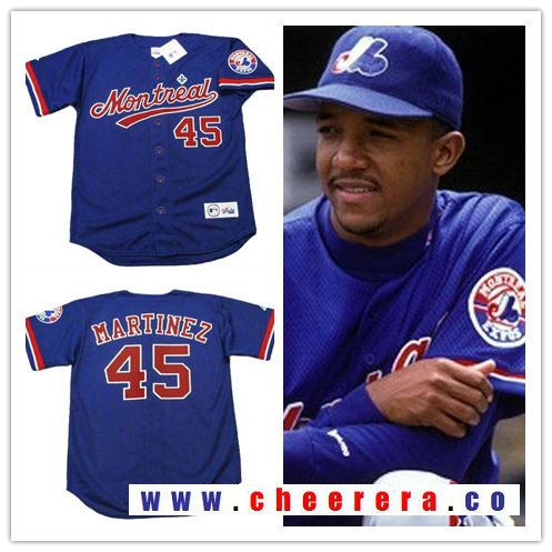 Men's Montreal Expos #45 Pedro Martinez Navy Blue 1994 Throwback Stitched MLB Majestic Cooperstown Collection Jersey