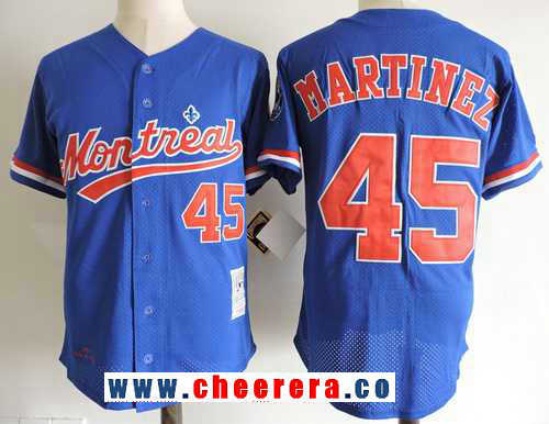 Men's Montreal Expos #45 Pedro Martinez Navy Blue Mesh BP 1994 Throwback Stitched MLB Majestic Cooperstown Collection Jersey