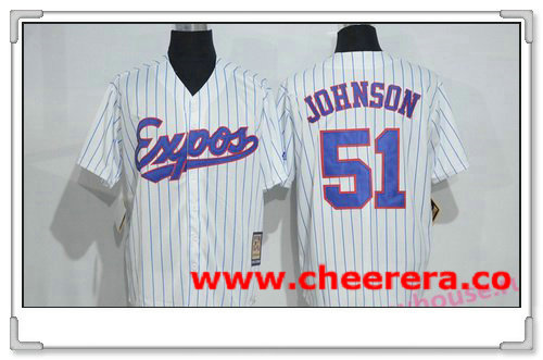 Men's Montreal Expos #51 Randy Johnson 1982 White Pinstripe Majestic Cool Base Cooperstown Collection Player Jersey