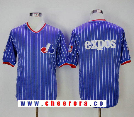 Men's Montreal Expos Blue Royal Blue Pullover Throwback Stitched MLB Majestic Cooperstown Collection Jersey