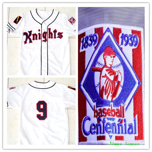 Men's NEW YORK KNIGHTS THE NATURAL MOVIE #9 ROY HOBBS BASEBALL JERSEY WHITE