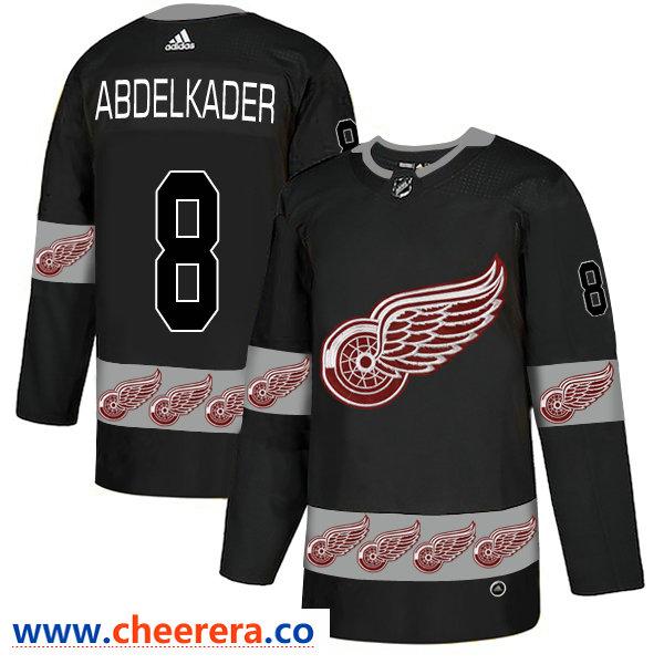 Men's NHL Red Wings 8 Justin Abdelkader Black Team Logos Fashion Adidas Jersey