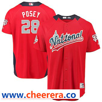 Men's National League #28 Buster Posey Majestic Red 2018 MLB All-Star Game Home Run Derby Player Jersey