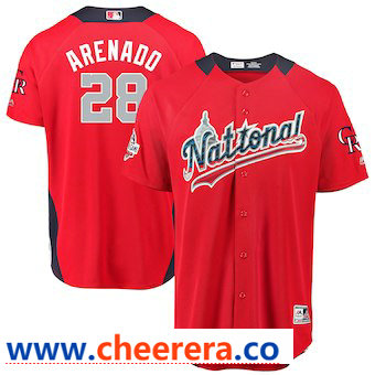 Men's National League #28 Nolan Arenado Majestic Red 2018 MLB All-Star Game Home Run Derby Player Jersey