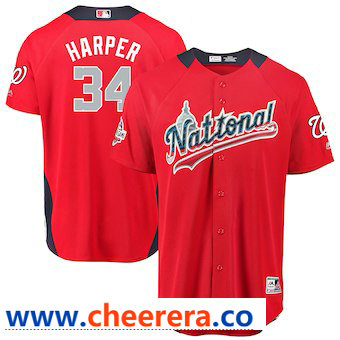 Men's National League #34 Bryce Harper Majestic Red 2018 MLB All-Star Game Home Run Derby Player Jersey