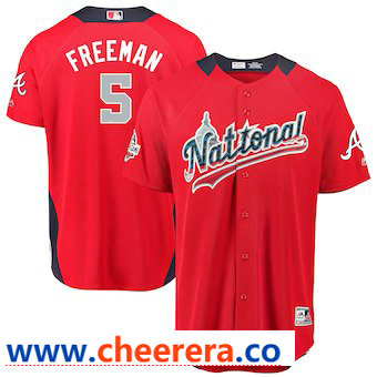 Men's National League #5 Freddie Freeman Majestic Red 2018 MLB All-Star Game Home Run Derby Player Jersey