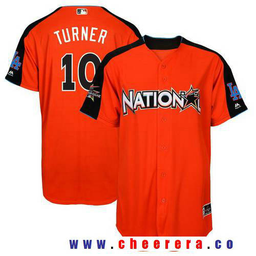 Men's National League Los Angeles Dodgers #10 Justin Turner Majestic Orange 2017 MLB All-Star Game Home Run Derby Player Jersey