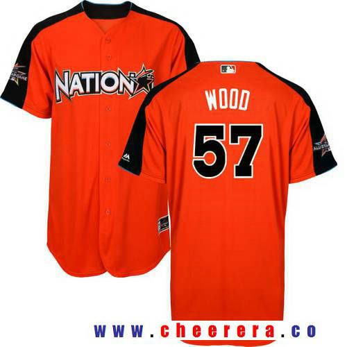 Men's National League Los Angeles Dodgers #57 Alex Wood Majestic Orange 2017 MLB All-Star Game Home Run Derby Player Jersey