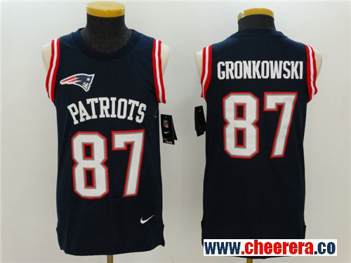 Men's New England Patriots #87 Rob Gronkowski Navy Blue Color Rush 2017 Vest Stitched NFL Nike Tank Top Jersey