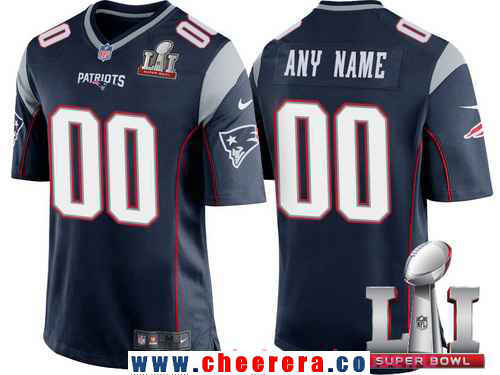 Men's New England Patriots Navy Blue 2017 Super Bowl LI NFL Nike Custom Game Jersey