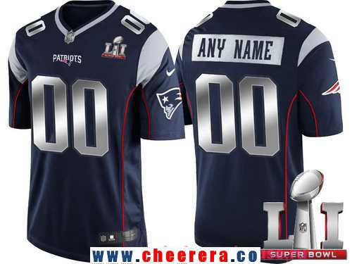 Men's New England Patriots Navy Blue Steel Silver 2017 Super Bowl LI NFL Nike Custom Limited Jersey