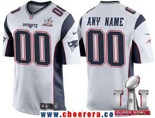 Men's New England Patriots White 2017 Super Bowl LI NFL Nike Custom Game Jersey