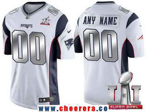 Men's New England Patriots White Steel Silver 2017 Super Bowl LI NFL Nike Custom Limited Jersey
