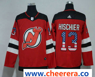Men's New Jersey Devils #13 Nico Hischier Red with USA Flag 2017-2018 Hockey Stitched NHL Jersey