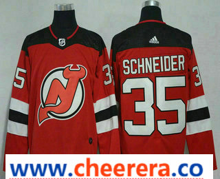 Men's New Jersey Devils #35 Cory Schneider Red 2017-2018 Hockey Stitched NHL Jersey