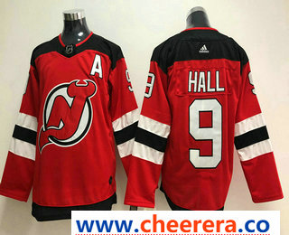 Men's New Jersey Devils #9 Taylor Hall Red With A Patch 2017-2018 Hockey Stitched NHL Jersey