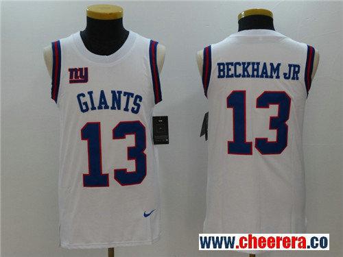 Men's New York Giants #13 Odell Beckham Jr White Color Rush 2017 Vest Stitched NFL Nike Tank Top Jersey