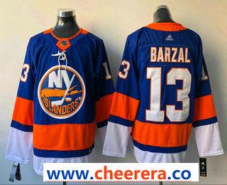 Men's New York Islanders #13 Mathew Barzal Blue Home 2017-2018 Hockey Stitched NHL Jersey