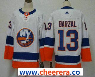 Men's New York Islanders #13 Mathew Barzal White 2017-2018 Hockey Stitched NHL Jersey